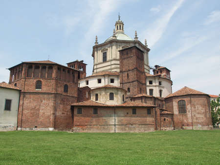 lawrence: Basilica of San Lorenzo alle Colonne in Milan, Italy Stock Photo
