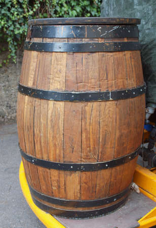 Old wooden barrel cask for whisky or beer or wine photo