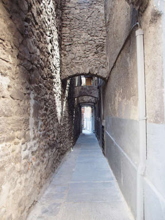 medioeval: Narrow streets in the old town of Aosta, Italy Stock Photo
