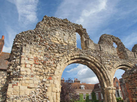abbey ruins abbey: Ruins of St Augustine Abbey in Canterbury UK