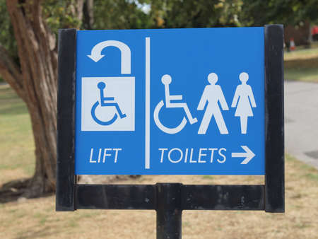 Disabled lift and toilets sign Stock Photo - 15373132
