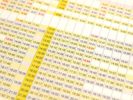 arrivals: Timetable of arrivals and departures of trains Stock Photo
