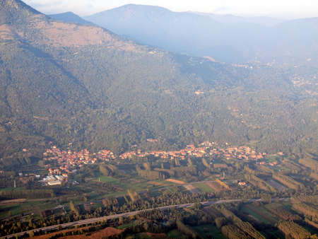 sacra: View of Susa Valley from Sacra di San Michele (Saint Michael Abbey) on Mount Pirchiriano in St Ambrogio Italy