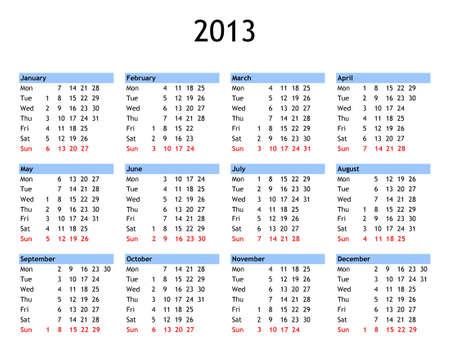 Einzelne Seite Jahr 2013 calendar