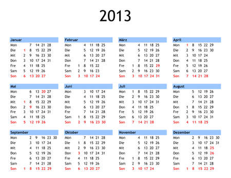 Single page year 2013 calendar in German - with public and bank holidays for Germany photo
