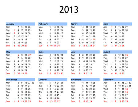 Single page year 2013 calendar - with public and bank holidays for England and Wales photo