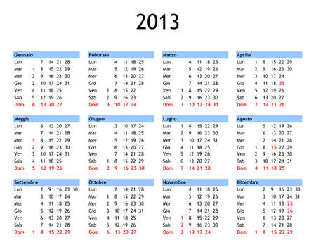 Single page year 2013 calendar in Italian - with public and bank holidays for Italy photo