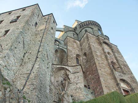 sacra: Sacra di San Michele (Saint Michael Abbey) on Mount Pirchiriano in St Ambrogio Italy Editorial