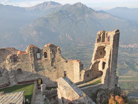 sacra: Ruins of Torre di Bell Alda (Tower of the Beautiful Alda) at Sacra di San Michele in Italy