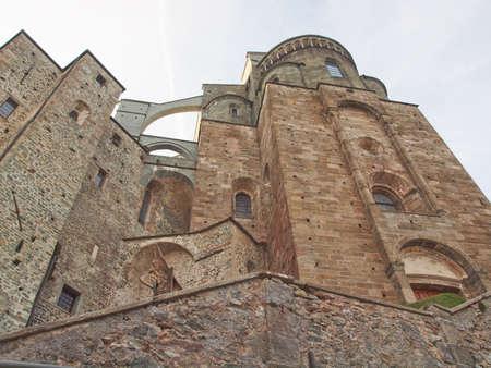 san michele: Sacra di San Michele (Saint Michael Abbey) on Mount Pirchiriano in St Ambrogio Italy Stock Photo