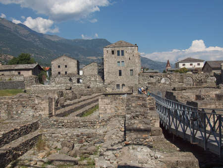 Ruins of the Roman Theatre in Aoste Italy Stock Photo - 17212910