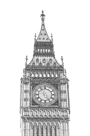 bigben: Big Ben Houses of Parliament Westminster Palace London gothic architecture - illustration derived from my own photo Stock Photo
