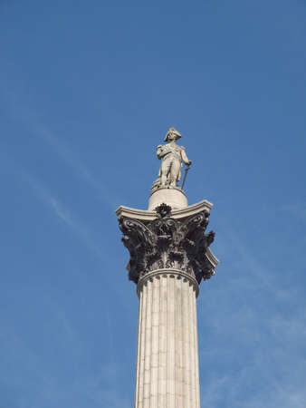 Nelson Column monument in Trafalgar Square London UK photo