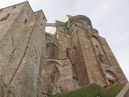 sacra: Sacra di San Michele (Saint Michael Abbey) on Mount Pirchiriano in St Ambrogio Italy Stock Photo