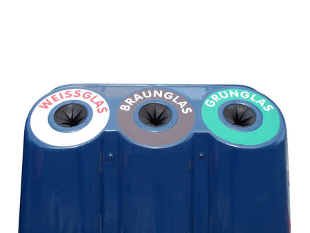 reusing: Glass waste sorting recycle bin based on glass colour in Germany