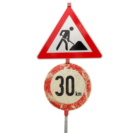 Work in progress and speed limit signs isolated over white photo