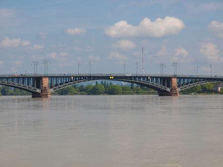 mainz: Rhein river in the city of Mainz Germany