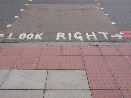 look at right: Look Right sign in a London street Stock Photo
