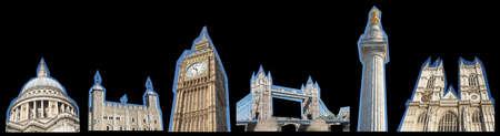 St Paul 大聖堂大聖堂の塔ロンドン ビッグ ベン記念碑ウェストミン スターを含むロンドンのランドマーク コラージュ