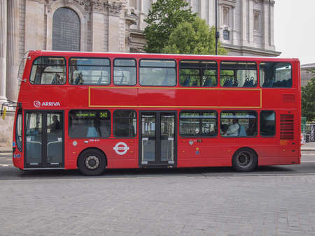 LONDON, ENGLAND, UK - JUNE 18: Traditional double decker red bus on June 18, 2011 in London, England, UK Stock Photo - 22057512