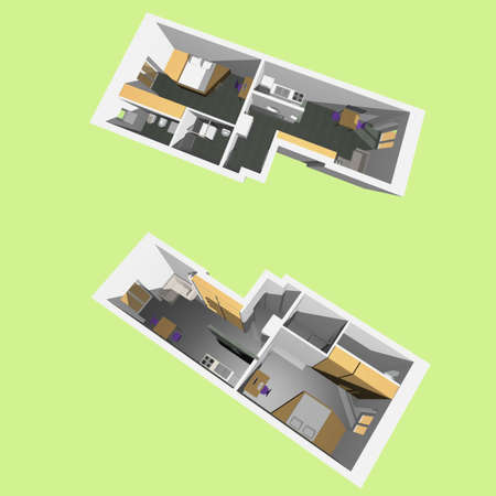 Home interior model of a modern flat (two perspective views) Stock Photo - 22542537