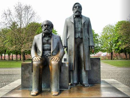 Marx and Engels statue in Marx-Engels-Forum, Alexanderplatz, Berlin - high dynamic range HDR