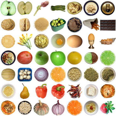 Collage of food isolated over white background photo