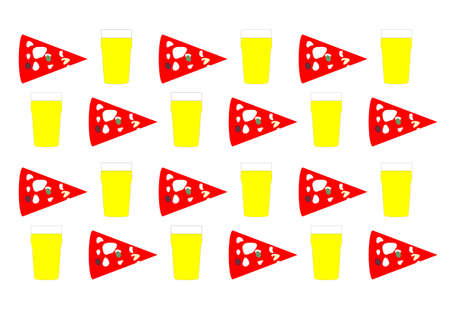 margherita: Background with beer pint and pizza slice