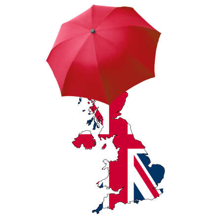 Red umbrella over a map, rainy day in the UK photo