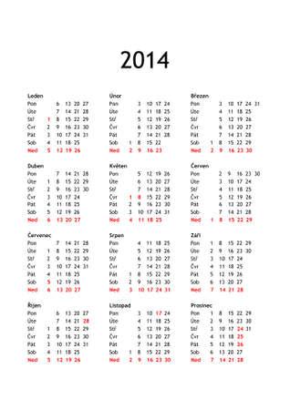 Calendario Anno 2014.Anno 2014 Calendario In Ceco Con Festivita Nazionali Per Repubblica Ceca