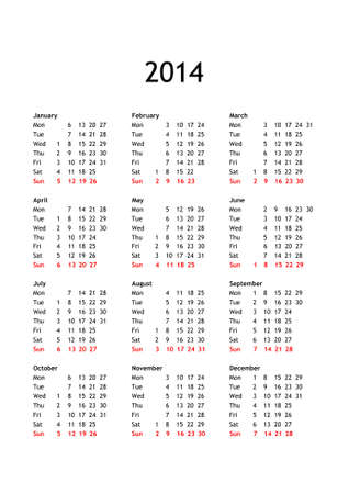 Year 2014 calendar in English with generic public holidays for all countries photo
