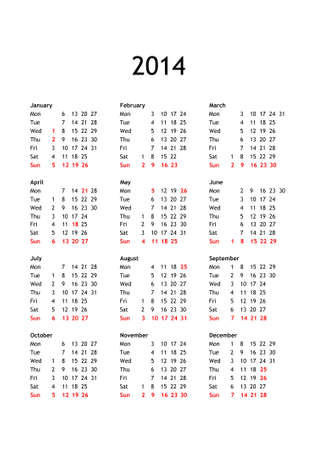 Year 2014 calendar in English with national public and bank holidays for England and Wales photo