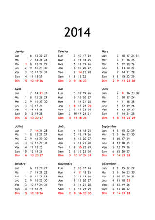 Year 2014 calendar in French with national public holidays for France photo