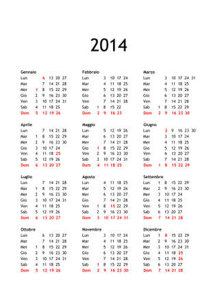 Year 2014 calendar in Italian with national public holidays for Italy photo