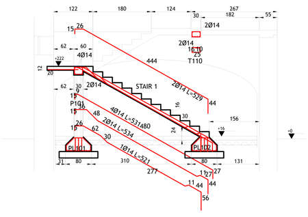 Structural drawing for a reinforced concrete structure