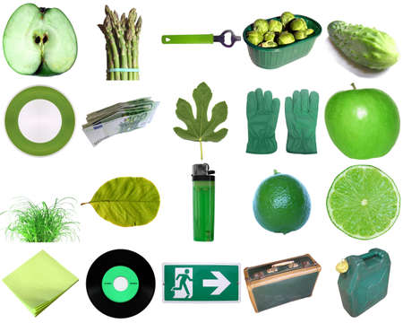 Green colour theme - a collection of objects photo