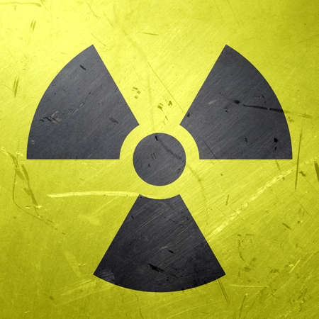 trefoil: Grunge illustration of the international radiation symbol aka trefoil Stock Photo