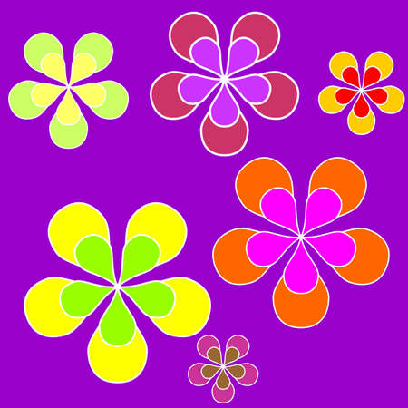 Sixties style illustration with colored flowers