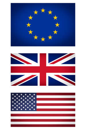 vignetted: Set of EU UK USA flags vignetted illustration