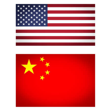 vignetted: Set of USA and China flags vignetted illustration