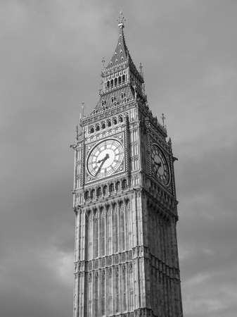 bigben: Big Ben Houses of Parliament Westminster Palace London gothic architecture in black and white Stock Photo