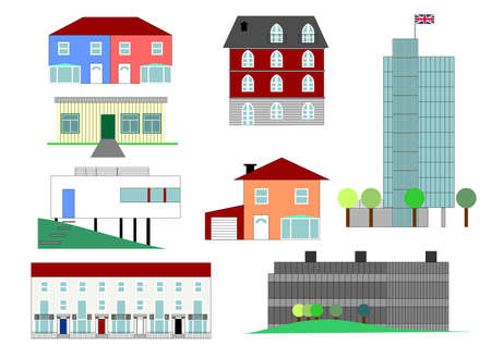 detached house: Set of house illustrations in different architectural styles