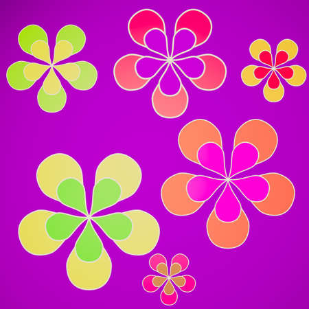 flowerpower: Retro looking Sixties style illustration with colored flowers