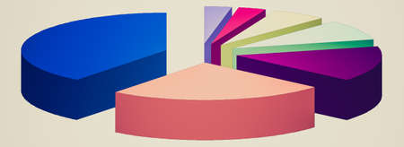 case studies: Retro looking Pie chart graph illustration isolated over white
