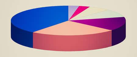 Retro op zoek cirkeldiagram grafiek illustratie geïsoleerd over wit Stockfoto