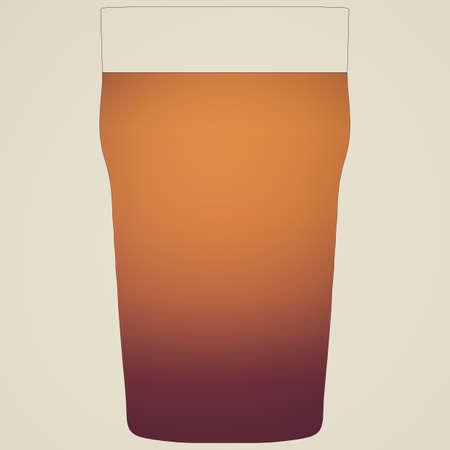 cerveza negra: Mirar retro Ilustraci�n de una pinta de cerveza negra
