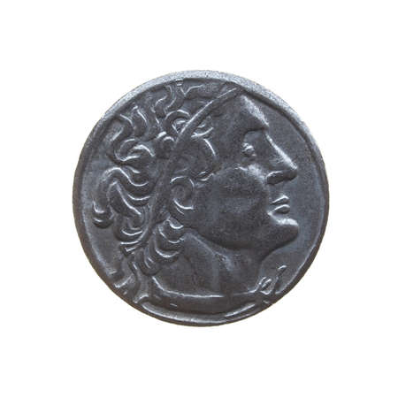 greek coins:  coin isolated over a white background Stock Photo