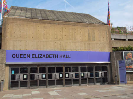 music venue: LONDON, ENGLAND, UK - SEPTEMBER 10, 2012: Queen Elizabeth Hall iconic masterpiece of the New Brutalism and world class music venue part of the South Bank Centre