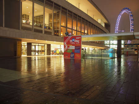 music venue: LONDON, ENGLAND, UK - FEBRUARY 11, 2013: Night view of the Royal Festival Hall, part of the South Bank Centre, world class music venue