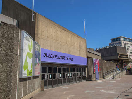 music venue: LONDON, ENGLAND, UK - MAY 06, 2010: Queen Elizabeth Hall iconic masterpiece of the New Brutalism and world class music venue part of the South Bank Centre